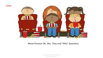 FREEBIE Movie Theme Pronouns and Who Questions