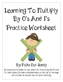 FREEBIE - Multiplying by 0's and 1's Practice - Common Cor