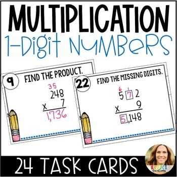 FREEBIE Multiplying by 1-Digit Numbers Differentiated Task Cards