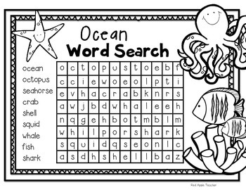 FREEBIE--Ocean Themed Word Search for K-2