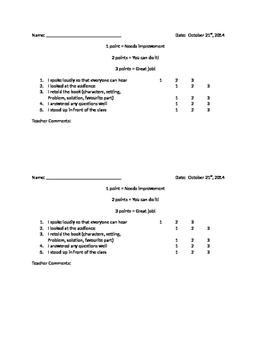 FREEBIE!! Oral presentation primary checklist for assessment