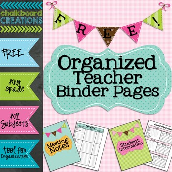 FREEBIE: Organized Teacher Binder Pages (Meeting Notes and