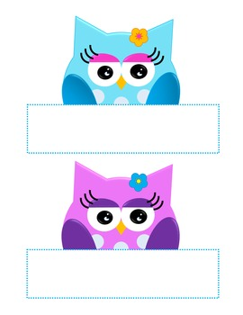 Owl Labels Boy and Girl, Blackline Digital Clip Art Clipart