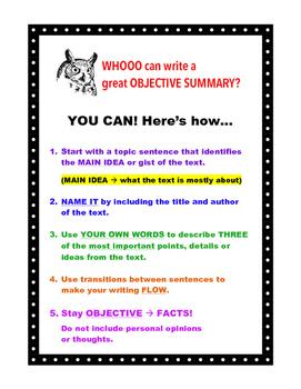 FREEBIE! Owl Theme Objective Summary Chart - Makes a Great