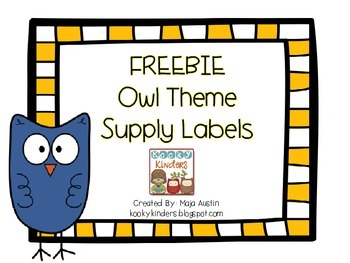 FREEBIE Owl Theme Supply Labels