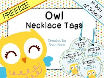 FREEBIE! Owl Themed Necklace Tags {1st Day Back to School}