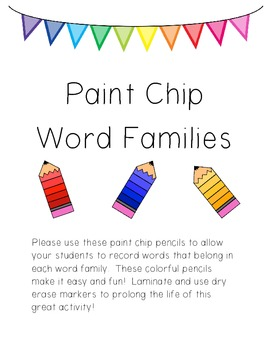 FREEBIE! Paint Chip Word Families