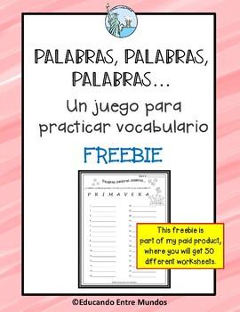 FREEBIE Palabras, palabras, palabras Vocabulary game
