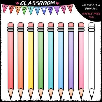 FREEBIE Pastel Pencils Clip Art - School Supplies Clip Art