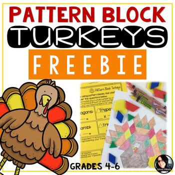 FREEBIE Pattern Block Turkeys Thanksgiving Math Activity F