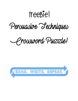 FREEBIE: Persuasive Techniques Crossword Puzzle [REVIEW]