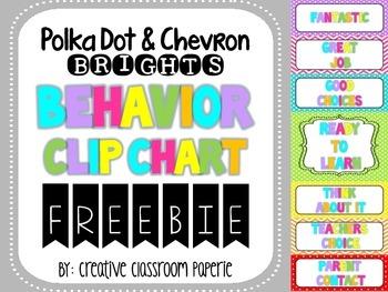 FREEBIE Polka Dot & Chevron Behavior Clip Chart {Behavior