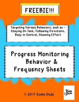 FREEBIE!!! Progress Monitoring Behavior & Frequency Sheets - FREE