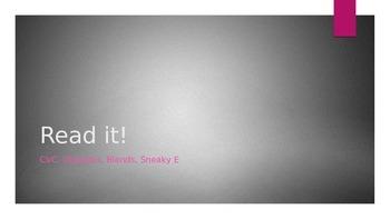 FREEBIE Read It PowerPoint CVC, Blends, Sneaky E Words, Digraphs