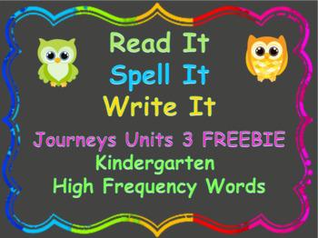 FREEBIE!!  Read, Spell, Write Kindergarten Journeys High F