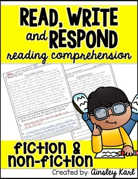 FREEBIE! {Read, Write and Respond} Fluency, Comprehension