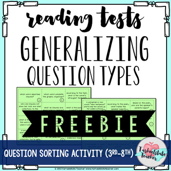 Answering Reading Test Questions Sort Grades 3rd, 4th, 5th