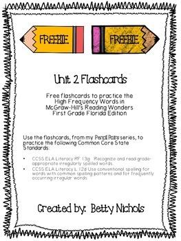 ***FREEBIE*** Reading Wonders Unit 2 HFW Flashcards ***FREEBIE***
