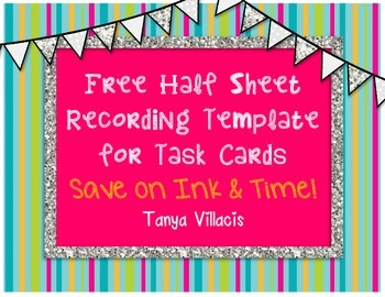 FREEBIE Recording Sheet / Template for Task Cards *FREE*