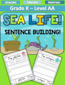 FREEBIE! SEA LIFE Sentence Building LEVEL AA