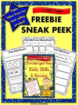{FREEBIE SNEAK PEEK} Kindergarten Daily Skills & Review-Co