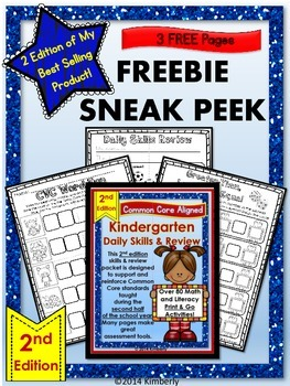 FREEBIE SNEAK PEEK: 2nd Edition Kindergarten Daily Skills