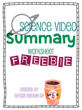 FREEBIE! Science Video Summary