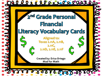 FREEBIE Second Grade Personal Finance Vocabulary Matching Cards