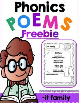 FREEBIE: Short [-it ] Word Family Poem