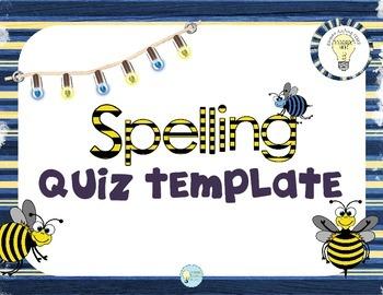 Language Arts: Spelling Word Study/ Quiz Template Printable