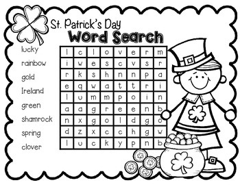 FREEBIE--St. Patrick's Day Word Search for K-2