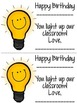 FREEBIE: Student Birthday Treat/Card {Glow Stick}