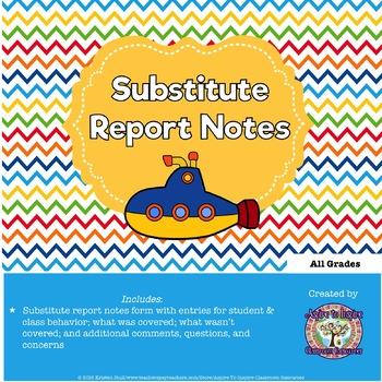 FREEBIE Substitute Report Notes