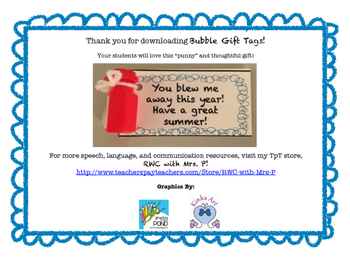 FREEBIE! Summer Gift Tag - Bubbles!