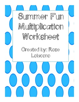 FREEBIE Summer Multiplication Worksheet