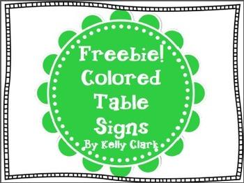 FREEBIE!!! Table Signs in Various Colors