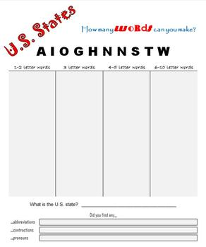 FREEBIE!  US States:  How many words can you make?