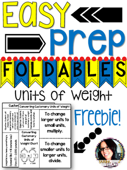 FREEBIE Units of Weight with Conversions Foldables - Perfe