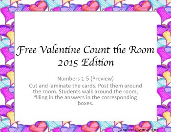 FREEBIE Valentine Count the Room 1-5