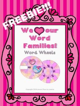 FREEBIE! Valentine Word Family Wheels