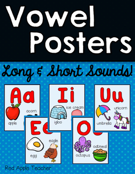 FREEBIE--Vowel Posters for K-2--Featuring Long and Short Sounds!