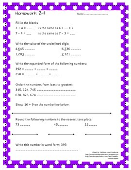 *FREEBIE* Week 2 Homework Printable