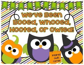 FREEBIE We've Been Booed, Whooed, Owled, or Hooted!