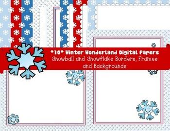 Winter Digital Papers Pack- Snowballs/Snowflakes Borders,