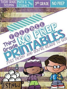 FREEBIE - Winter Themed No Prep Printables - Literacy and Math