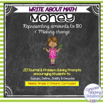 FREEBIE Write About Math Money Journal Prompt