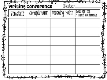 FREEBIE Writing Conference Page Sheet Printable Tracking
