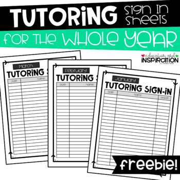 FREEBIE Year-Round Tutoring Sign-In Sheets by Education an