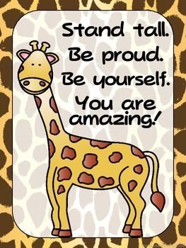 FREEBIE - Zoo Animals Positive Quote Posters {Jungle Safar