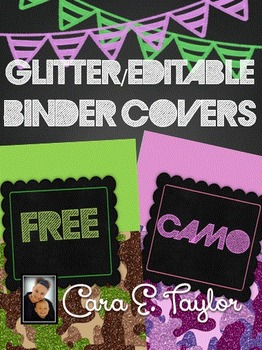 FREEBIE~Editable Glitter Camo Binder Covers